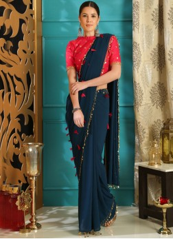 Saree Embroidered Faux Georgette in Blue