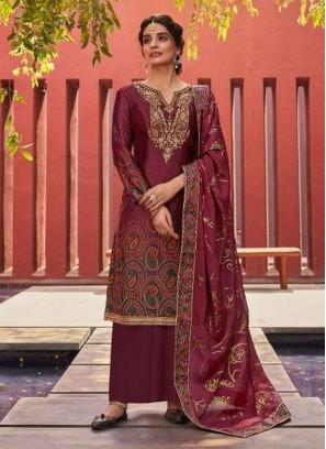 Satin Digital Print Embroidery Salwar Suit In Saddle Brown