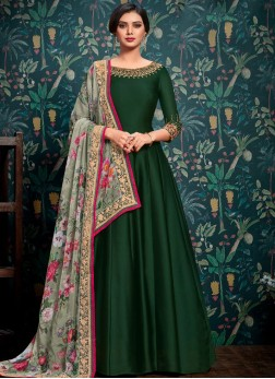 Satin Floor Length Anarkali Suit in Green