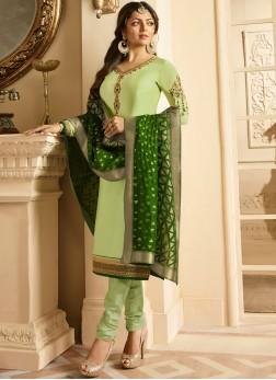 Satin Green Resham Churidar Designer Suit