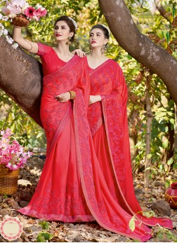 Satin Hot Pink Patch Border Classic Saree