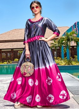 Satin Party Wear Kurti in Grey and Hot Pink