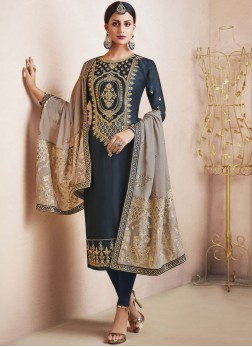 Satin Resham Churidar Designer Suit in Blue