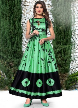 Satin Silk Green Party Wear Kurti