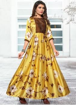 Satin Silk Yellow Print Party Wear Kurti