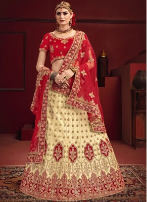 Satin Zari Designer Lehenga Choli in Red