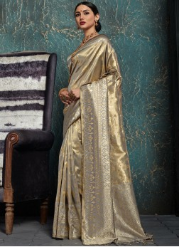 Savory Grey Kanchipuram Silk Designer Traditional Saree