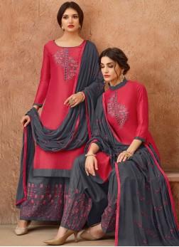 Savory Hot Pink Embroidered Designer Salwar Suit