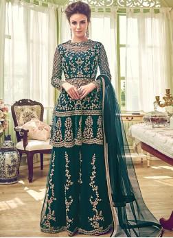 Savory Net Zari Green Designer Palazzo Salwar Kameez
