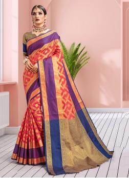 Savory Pink Designer Traditional Saree