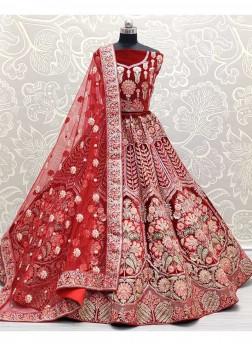 Scarlet Red In Double Dori & Zricon Work Lehenga Choli For Bridal