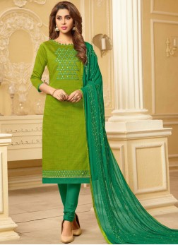 Scintillating Embroidered Festival Churidar Suit