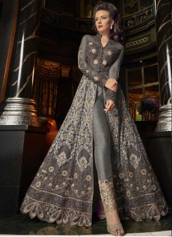 Scintillating Embroidered Grey Net Pant Style Suit