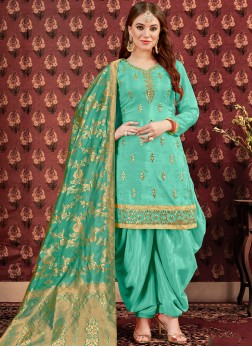 Sea Green Color Designer Punjabi Patiala Suit