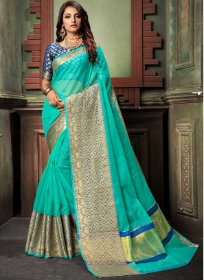 Sea Green Color Designer cotton Saree