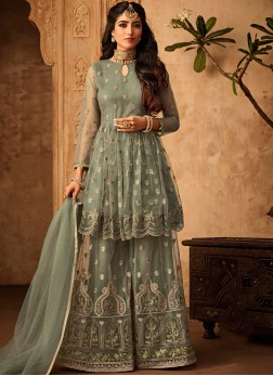 Sea Green Embroidered Festival Designer Palazzo Salwar Kameez