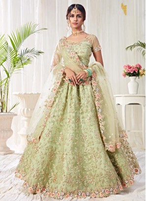 Sea Green Engagement Banglori Silk Lehenga Choli