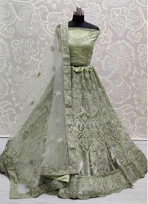 Sea Green Fabulous embroidered full of Zarkan diamond on Net wedding Lehenga choli