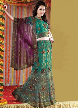 Sea Green Net Handwork Lehenga Choli