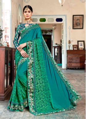 Sea Green Patch Border Trendy Saree