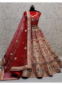 Selected Thread and Dori Work Beautifully Designed Bridal Lehengacholi In Red