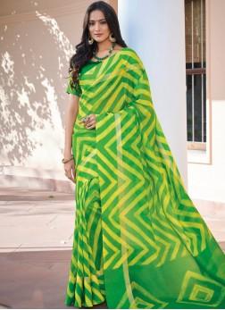 Sensible Art Silk Green Printed Saree