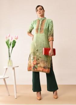 Sensible Green Printed Faux Crepe Designer Kurti