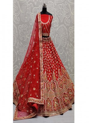 Sequence and Dori Embroidered Art Silk Lehengacholi In Red