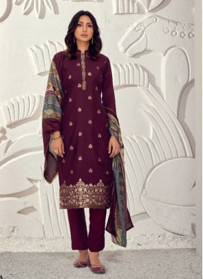 Sequence Maslin Pant Style Salwar Kameez In Wine