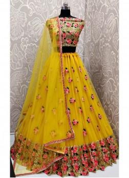 Sequin Highlights Yellow Haldi Ceremony Designer Lehenga Choli With Dupatta