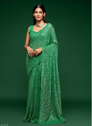 Sequinned Georgette Saree In Pista Green