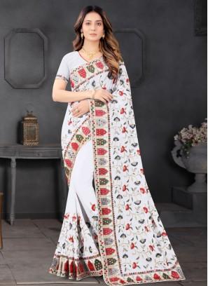Sequnce - Mirror Work Designer Saree In White