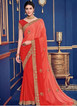 Shaded Saree Patch Border Faux Georgette in Orange