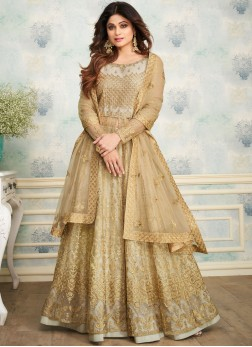Shamita Shetty Beige Satin Embroidered Designer Lehenga Choli
