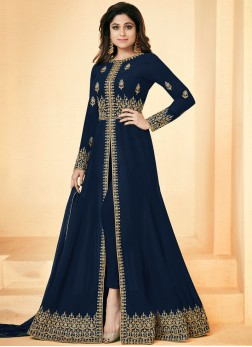 Shamita Shetty Blue Floor Length Anarkali Suit