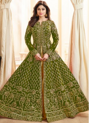 Shamita Shetty Embroidered Long Choli Lehenga