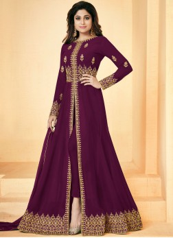 Shamita Shetty Faux Georgette Embroidered Magenta Floor Length Anarkali Suit