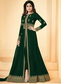 Shamita Shetty Faux Georgette Green Embroidered Floor Length Anarkali Suit