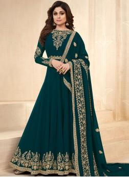 Shamita Shetty Faux Georgette Teal Lace Floor Length Anarkali Suit