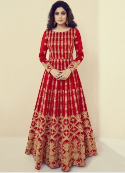 Shamita Shetty Floor Length Anarkali Suit For Party