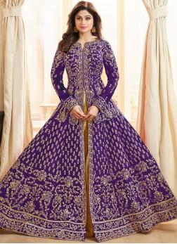 Shamita Shetty Malbari Silk  Purple Long Choli Lehenga
