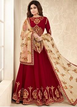 Shamita Shetty Maroon Wedding Floor Length Anarkali Suit