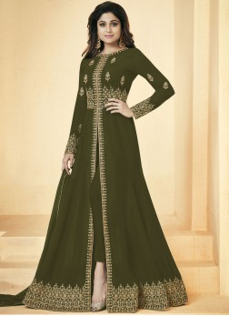 Shamita Shetty Resham Green Faux Georgette Floor Length Anarkali Suit