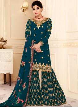 Shamita Shetty Zari Teal Designer Pakistani Suit