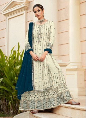 Sharara Style First Class Mirror Work On Salwar Suit In White - Teal