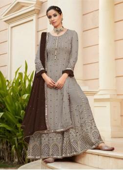 Sharara Style Impressive Mirror Work On Salwar Suit In Grey - Brown