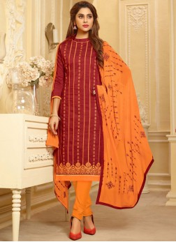 Sightly Embroidered Cotton Maroon Churidar Suit