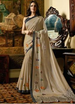 Silk Beige Embroidered Designer Saree