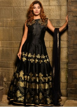 Silk Black Handwork Designer Gown