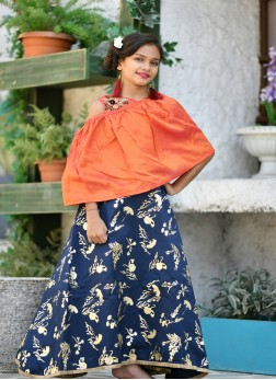 Silk crafted foil print indowestern style lehenga for kids
